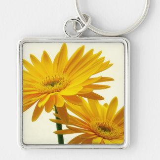 gerbera Silver-Colored square keychain