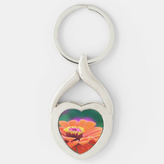 gerbera Silver-Colored twisted heart keychain
