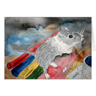 GERBIL PAINTING domestic pet greeting card art