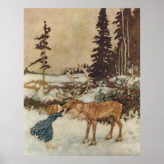 Gerda vintage et le renne par Edmund Dulac Poster