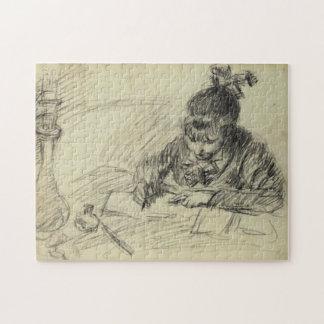 Germaine Hoschedé Writing Monet Fine Art Jigsaw Puzzle
