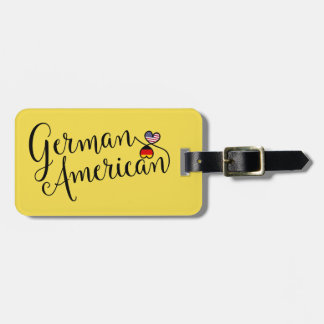 German American Entwined Heart Luggage Tag