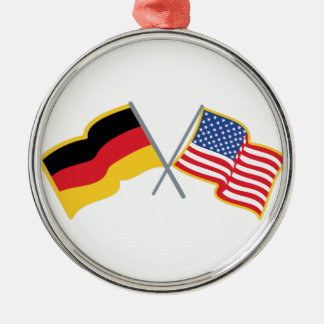 German American Flags Silver-Colored Round Ornament