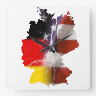 German American Unity Square Wall Clock