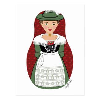 German Bavarian Matryoshka Postcard