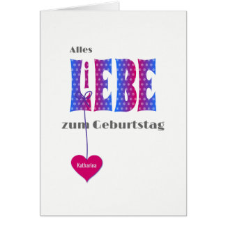 German birthday personalized name LIEBE card