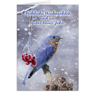 German - Blue Bird Christmas Greeting Card
