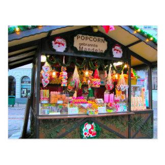 German Christmas, Candy and Popcorn stall Postcard