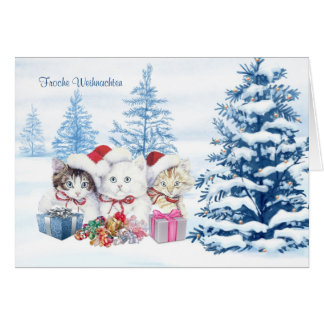 German Christmas Card with kittens, tree, presents