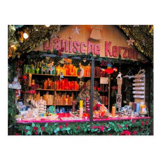 German Christmas Colourful candles Postcard