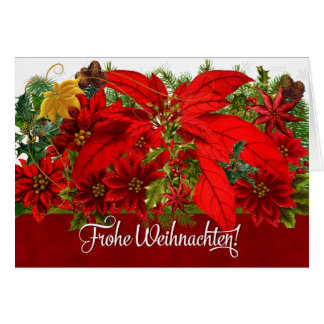 German Christmas Poinsettias Frohe Weihnachten! Card