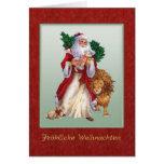 German Christmas - St.Nicolas, lion, rabbit Card
