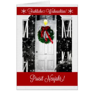 German Christmas Wreath on the Door Card