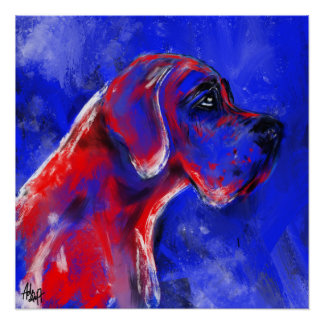 German Dogge painting red blaut Poster