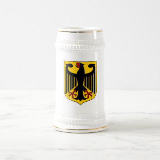 German Eagle Shield White+Gold Beer Stein