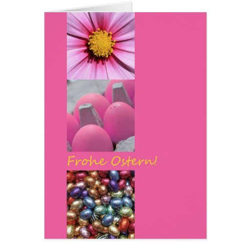 German Easter Greeting Pink Collage Card