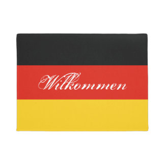 German flag door mat with Germany welcome text