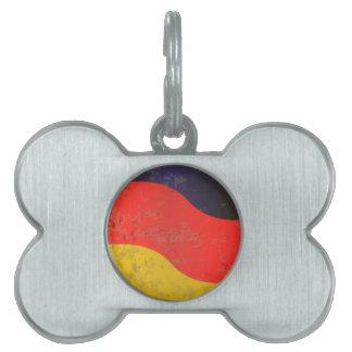 German Flag Grunge Pet Name Tag