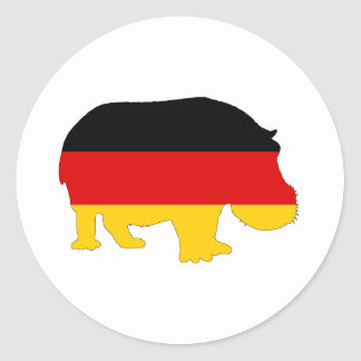 German Flag - Hippo Round Sticker