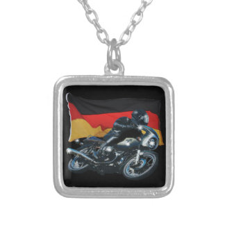 German Flag & Motorbike Rider Silver Plated Necklace