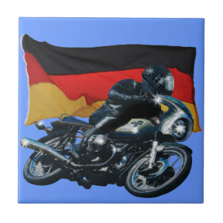 German Flag & Motorbike Rider Tile