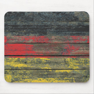 German Flag on Rough Wood Boards Effect Mouse Pad