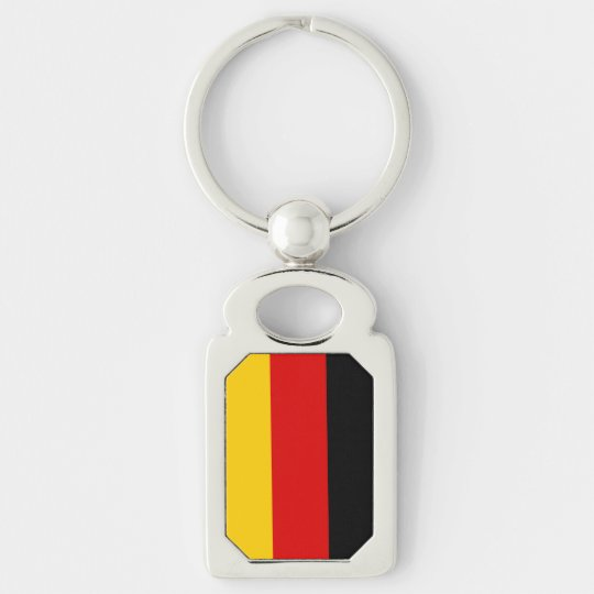 German Flag Silver-Colored Rectangle Keychain