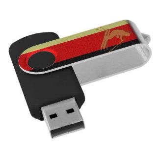 German Flag Ski Winter Sports Germany Swivel USB 2.0 Flash Drive
