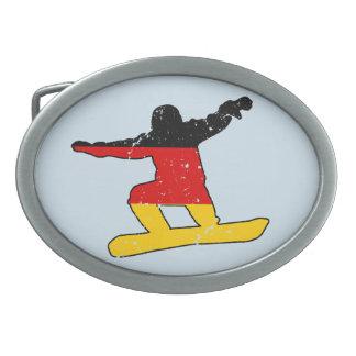 German flag SNOWBOARDER (blk) Oval Belt Buckle