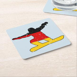 German flag SNOWBOARDER (blk) Square Paper Coaster