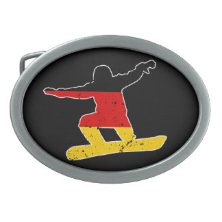 German flag SNOWBOARDER (wht) Oval Belt Buckle