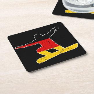 German flag SNOWBOARDER (wht) Square Paper Coaster