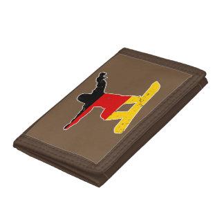 German flag SNOWBOARDER (wht) Tri-fold Wallets
