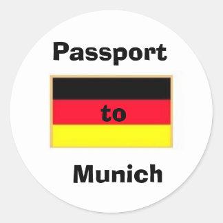 german_flag_stickers, Passport to  Munich Classic Round Sticker