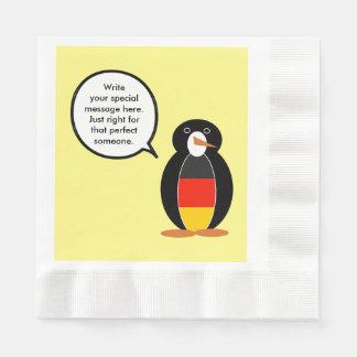 German Flag Talking Penguin Disposable Napkins