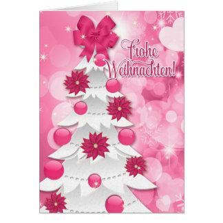 German Frothe Weihnachten Pink Christmas Card