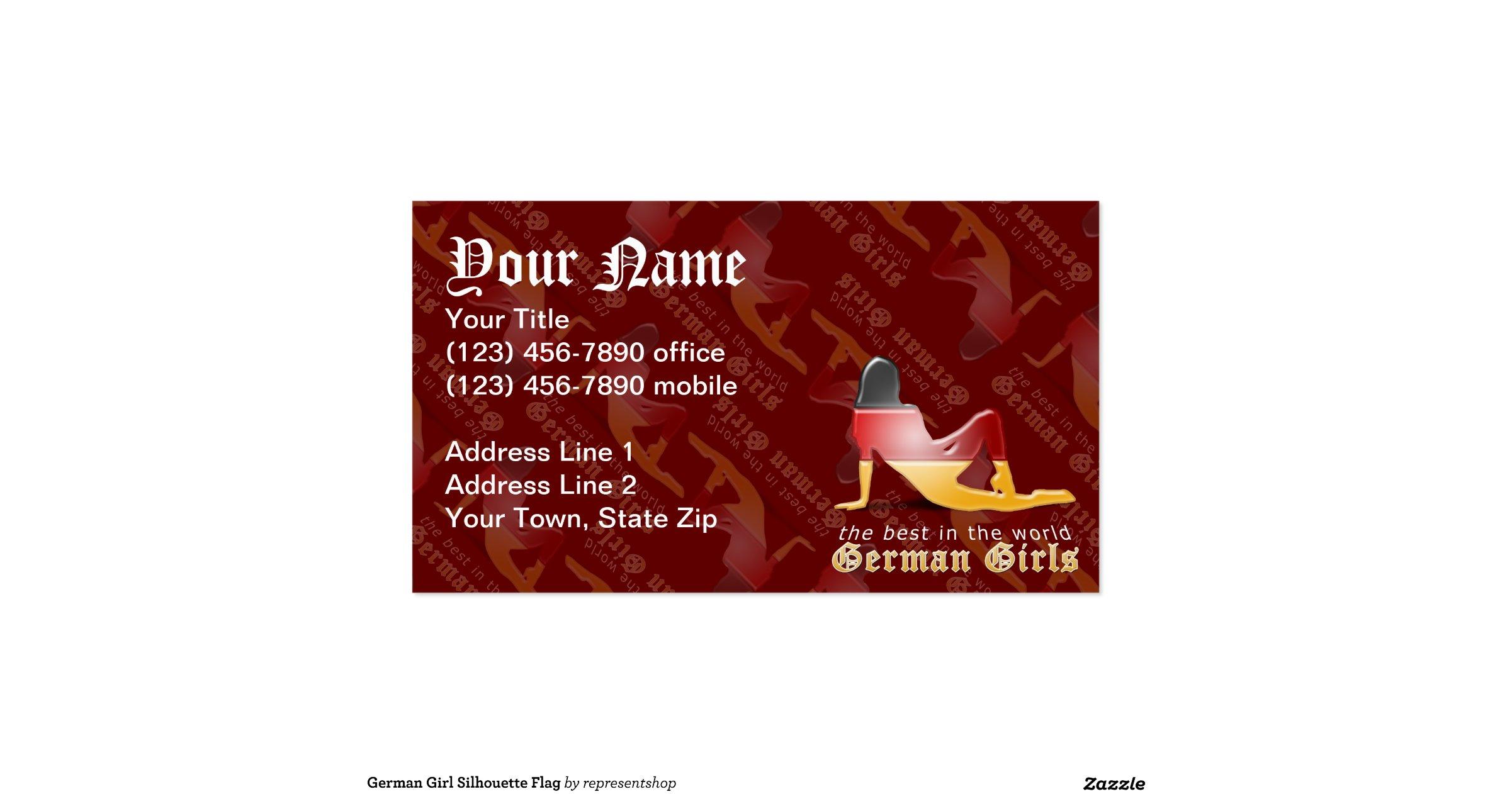 german girl silhouette flag pack of standard business cards zazzle. Black Bedroom Furniture Sets. Home Design Ideas