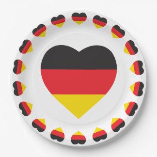 GERMAN HEART SHAPE FLAG 9 INCH PAPER PLATE