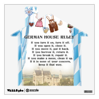 German House Rules Decal House shaped