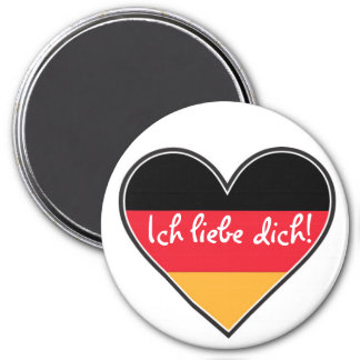 German - I love you 3 Inch Round Magnet
