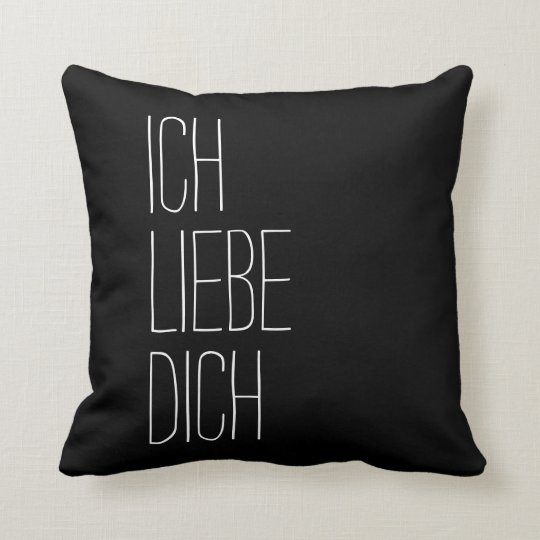 German I Love You Ich Liebe Dich Black and White Throw Pillow