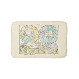 German-Language Polar Map Bathroom Mat