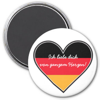German - Love with All My Heart 3 Inch Round Magnet