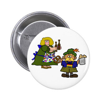 German Man and Woman Beer and Pretzel Button