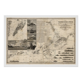 German Map of China with Guangdong and Macao 1834 Poster