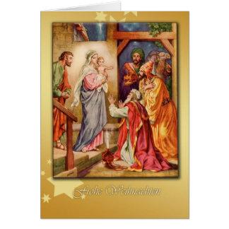 german merry christmas card, nativity card