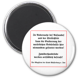 German No Peeing in Public Sign 2 Inch Round Magnet