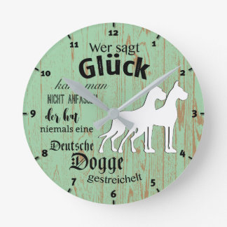 German only: Romantic Great Danes Round Clock