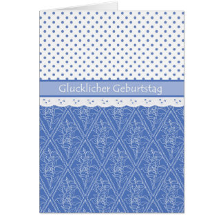 German Periwinkle, Faux Lace, Polka Dots Birthday Card