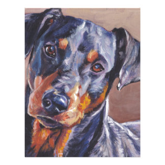 german pinscher fine art dog painting customized letterhead
